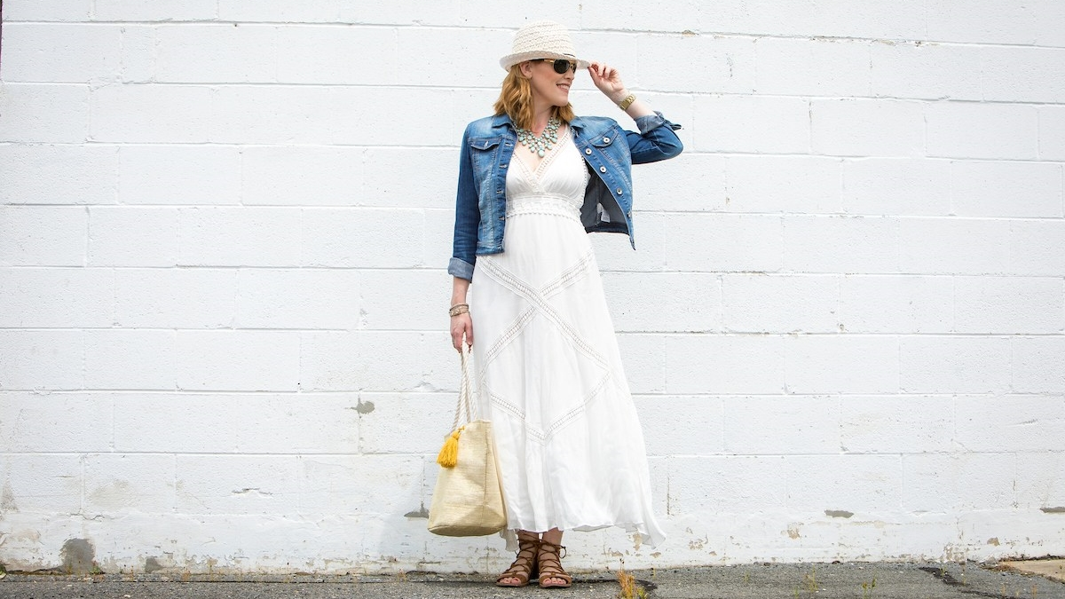 A White Boho Chic Maxi Dress Look