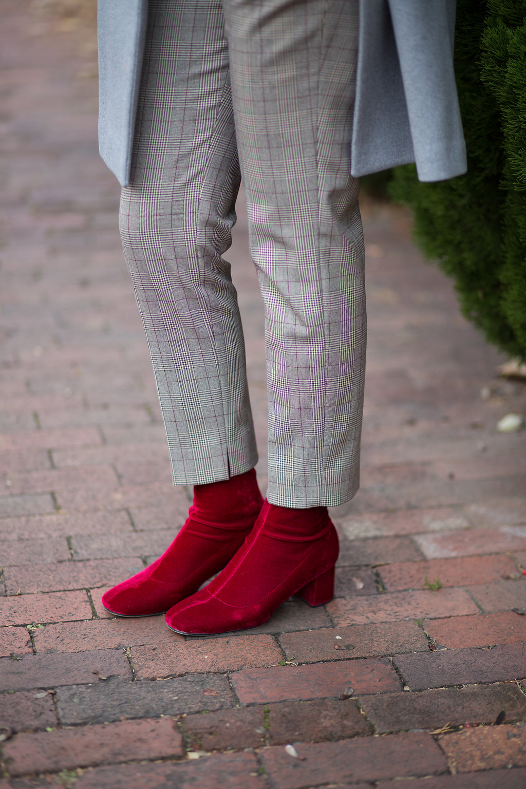 French Chic Grey Coat & Red Sock Boots