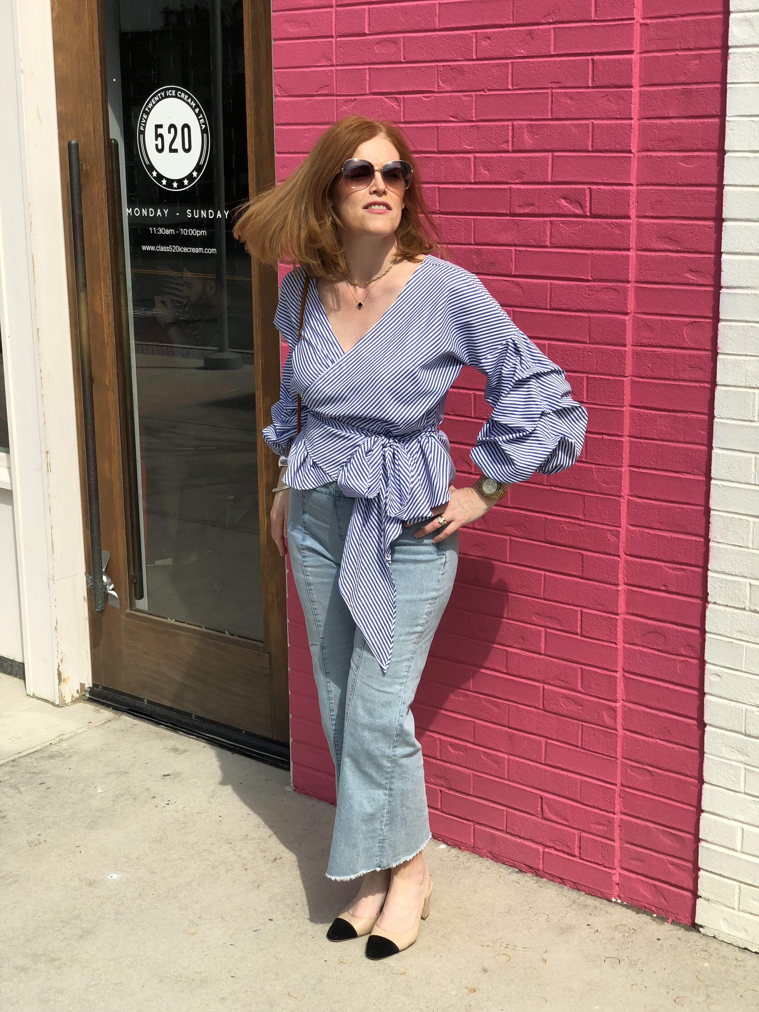 French Chic Spring Essentials: Striped Blouse & Wide-Leg Denim