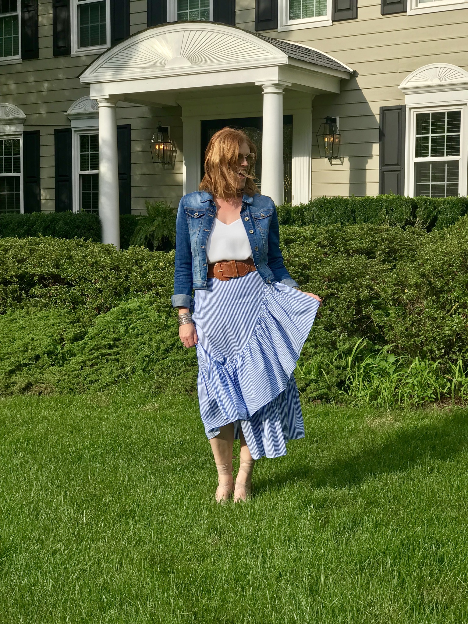 French Chic Summer Essential: Asymmetric Stripe Ruffle Skirt
