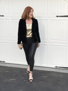 Happy New Year & Faux-Leather Leggings Party Outfit