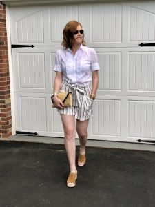 French Chic Stripes on Stripes Shorts Outfit