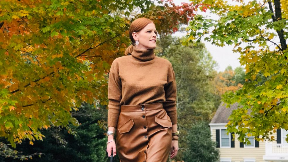 French Chic Faux Leather Skirt Fall Look & Special Feature