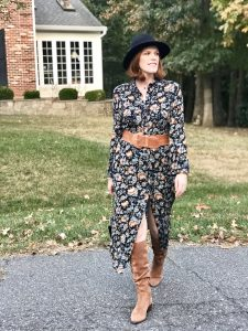 French Chic Romantic Look: Dark Floral Dress & Suede Boots