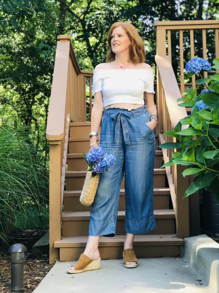 Summer Chic Look: The Little White Top & Denim Paperbag Pants