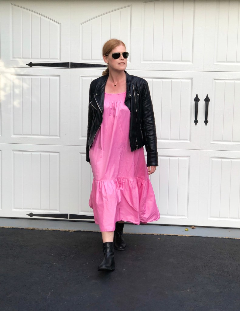 French Chic October Look: Pink Maxi Dress & Black Moto Leather Jacket